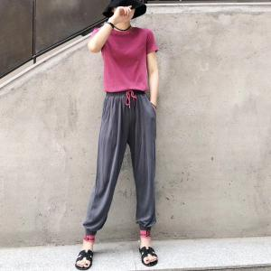 Womens 2 Piece Outfits Set With O Neck Short Sleeve Blouses Tops  Loose Long Pants