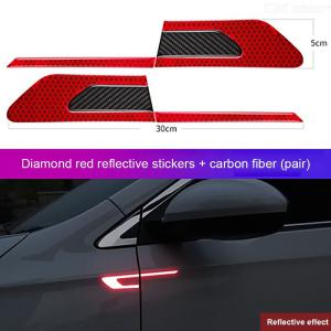 Car Fender Safety Warning Reflective Stickers Universal Carbon Fiber Anti-Collision Reflective Strips