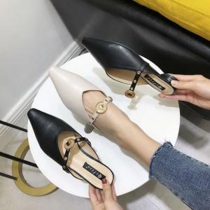 Pointed Toe Sandals Belt Buckle Slippers PU Leather Shoes For Women