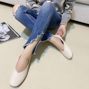 Square Head Ballet Flats Low Heel Pumps Comfortable PU Leather Shoes For Women