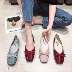 Womens Summer Flats Shoes Solid PU Leather Slip-on Shoes