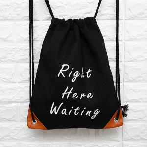Fashion Canvas Drawstring Backpack Portable Casual Shoulder Bag With English Letter Pattern For Women