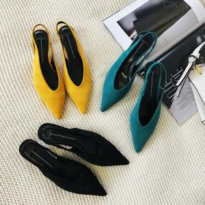 Womens Low Heel Mules Closed Pointed Toe Slip On Slide Sandals Backless Shoes