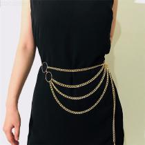 Womens Multilayer Waist Chain Long Charm Metal Belly Chain