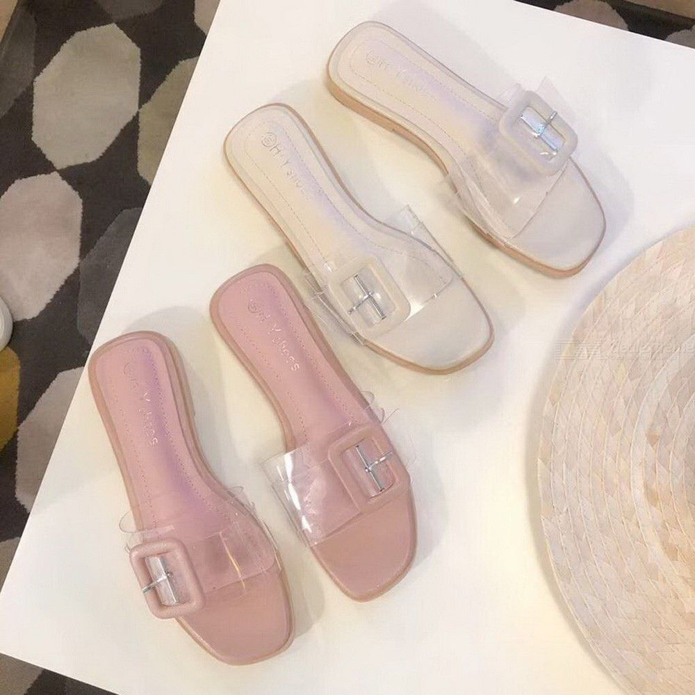 495d297047 Womens Flat Sandals Cute Slip-on Slides With Clear Upper - Free ...