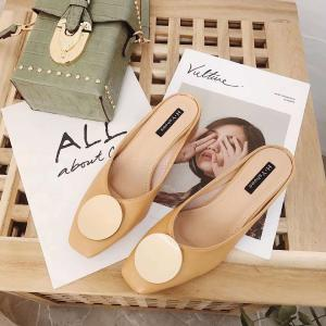 Womens Middle Heel Mule Closed Toe Slip On Sandals Slides Backless Shoes