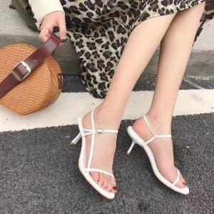 Simple Style Solid Ankle Strap Buckle Strap Stiletto Heel Slingback Sandals