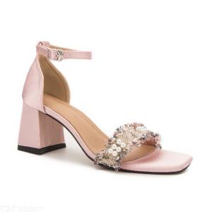 Summer Sweet Faux Pearl Lace Decor Open Toe Ankle Strap Chunky Cover Heel Sandals