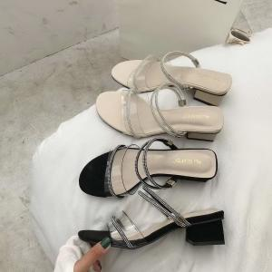 Transparent Ankle Strap With Rhinestones Narrow Band Chunky Heel Sandals Outdoor Walking Slippers