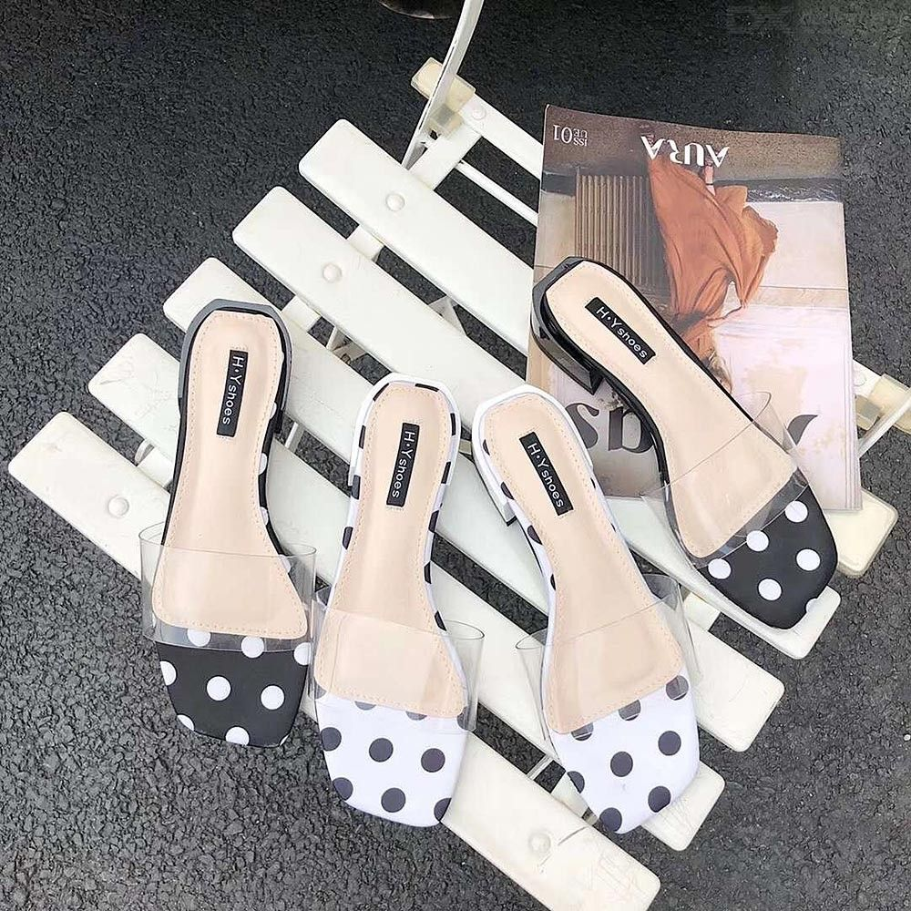 78b8375b5ce Woman Outside Open Toe Transparent Ankle Strap With Dots Chunky Heel  Sandals Slippers