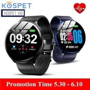 Kospet V12 Waterproof Smartwatch, Heart Rate  Blood Oxygen Monitoring  Breathing Light  Tempered Glass Leather Smart Watch