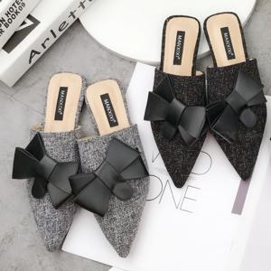 Womens Flat Mules Closed Pointed Toe Slides Slip-on Sandals Backless Shoes