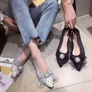 Women Pointed Toe Flats Breathable Mesh Ballet Flat Shoes With Rhinestone Pearl Decor