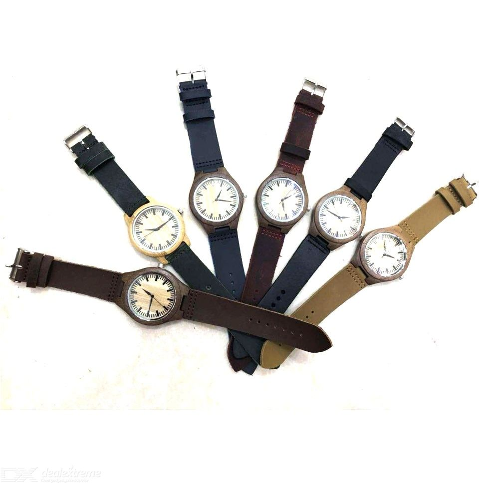 Fashion Simple And Exaggerated Personality Popular Leather Bamboo And Wood Watch