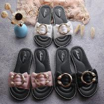 Woman-Bowknot-With-Metal-Faux-Pearl-Ankle-Strap-Rhinestones-Detail-Non-Slip-Soft-Sandals-Slippers