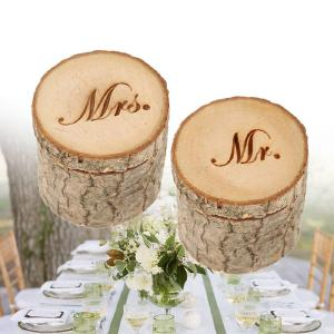 2PCSSet Vintage Wooden Ring Box MR MRS Engagement Rings Jewelry Boxes for Wedding Valentines