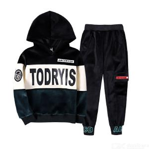 Kids Boys 2 Piece Outfits Set with Long Sleeve Hoodies + Long Slim Pant