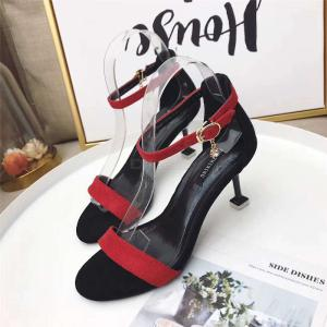Woman Summer Open Toe Ankle Strap Adjustable Buckle Stiletto Cover Heel Sandals