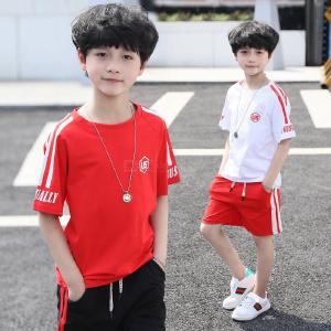 Kids Boys 2 Piece Outfits Set with Short Sleeve Shirts + Shorts, 3 Optional Colors