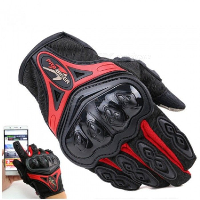 PRO-BiKER 1 Pair Screen Touch Full Finger Gloves Outdoor Sports Motocross Motorcycle Racing Cycling Shockproof Gloves Black/M