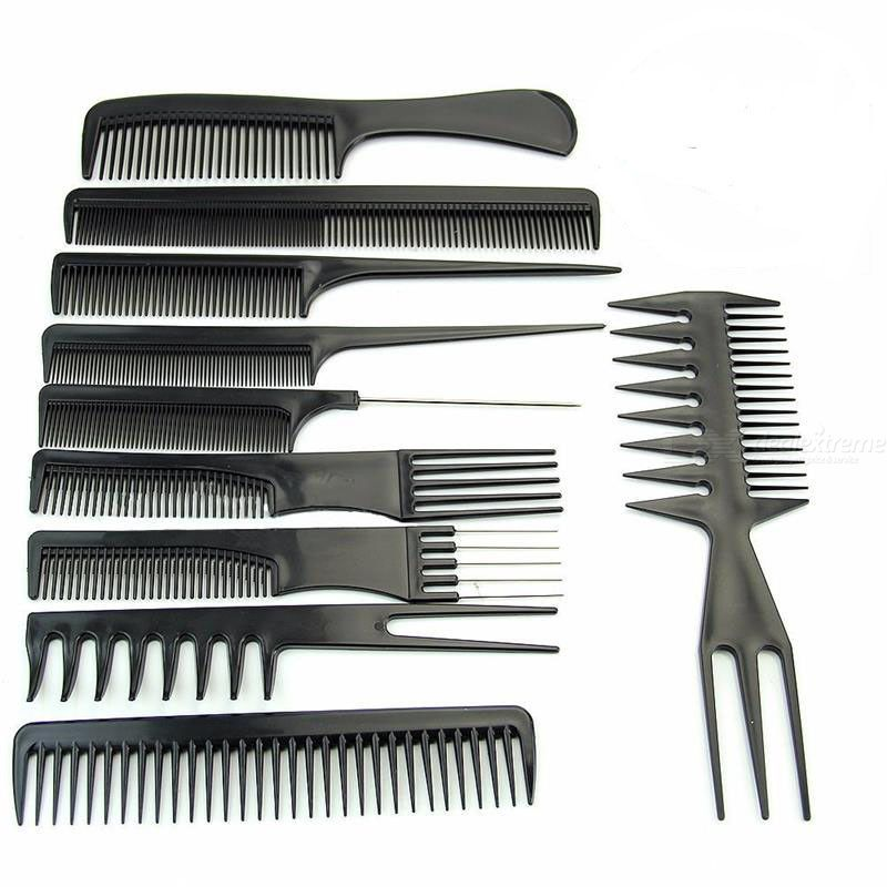 10pcs Black Plastic Salon Hair Comb Set Professional Hairdressing Hair Styling Tools For Barber