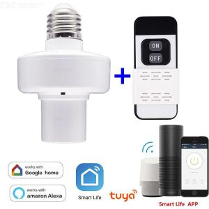 Smart Light Bulb Socket E26 E27 WiFi Light Bulb Base With RF Control W 1PC Remote