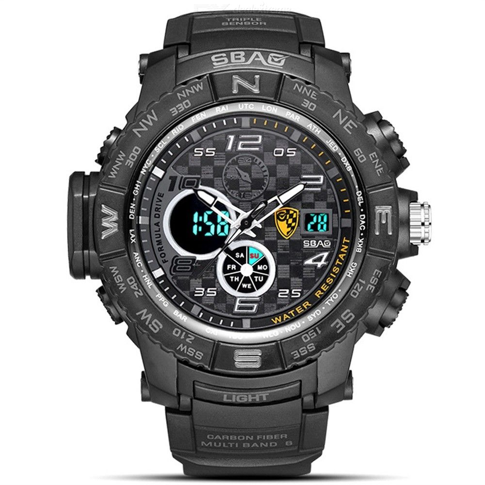 SBAO Casual Luminous Digital Wristwatch, Waterproof Sports Watch For Men