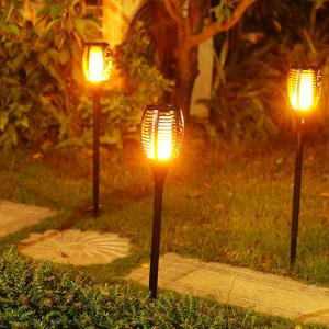 2PCS LED Solar Torch Lights Waterproof Flickering Flame Torches Light Outdoor Lawn Decoration Lamp