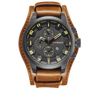 Mens Stylish Business Watch Casual Multifunctional Wristwatch With Leather Band