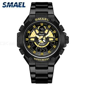 SMAEL 1383 30m Waterproof Quartz Wristwatch, Dual Display Mens Sports Watch With Stainless Steel Strap