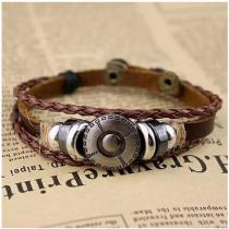 Silver-National-Ancientry-Style-Braided-Leather-Metal-Bead-Bracelet