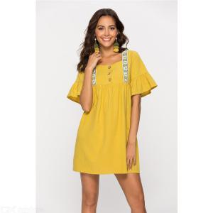 6523 Womens Summer Vintage Casual Square Neck Butterfly Sleeve A-Line Dress