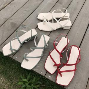 New Style Summery Easy-matching Womens Thick-heel Cross-Strip Sandals