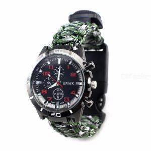 Mens Survival Watch Outdoor Tactical Watch With Paracord Compass Thermometer Fire Starter Whistle Scraper