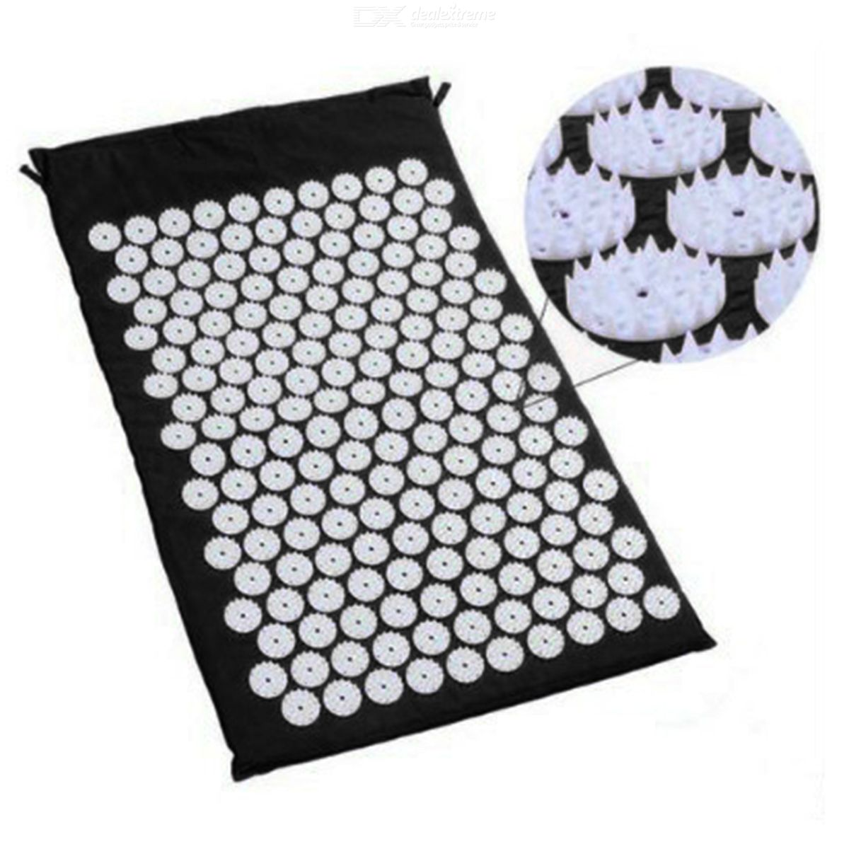 Lotus Acupressure Mat for Relieving Stress Pain, Massage Cushion for Back Neck Hip Pain with Storage Bag Black