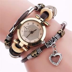 Womens Bangle Watch Retro Style Multilayer Bracelet Watch