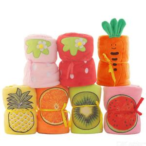 Children Blanket With Lovely Fruit Embroidery Pattern Soft Comfortable Coral Fleece Blanket For Boys Girls 31.5  39.4 Inch
