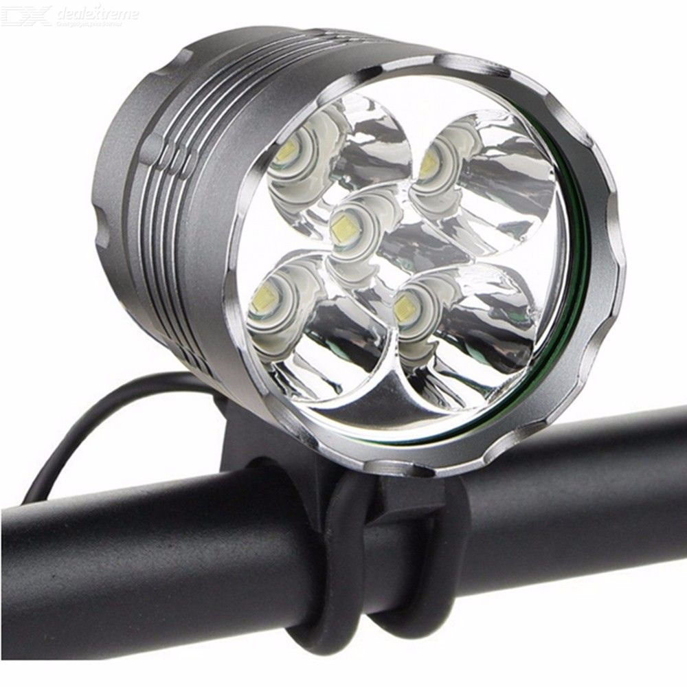 ZSJ-005 XM-L T6 4000LM Rechargeable Bicycle LED Lights Sets 3-Mode Waterproof Bike Headlamp - Black Grey