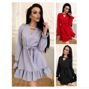 Preppy Style A-line O-shape Neck Above Knee Solid Color Cotton One-piece Dress