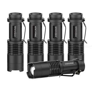 5 Pack Bright 1200LM Mini Focusing LED Flashlight 5 Modes Waterproof Telescopic Flashlights 18650 Battery Powered