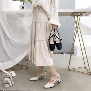 Womens Summery New Style Thick Heel Easy Matching Sandals  Middle Size Heels Slim Sandals With Buckles