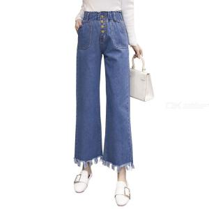 Full Length Button Fly Straight Softener Straight CottonPolyester Jeans For Office Laides