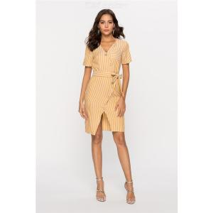 6531 Vintage Striped Wasitband V Neck Womens Slim Dress With Buttons Design For Summer Spring