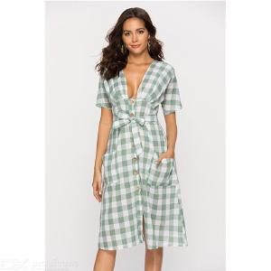 6532 Preppy Style Double-breasted V Neck Waistband Womens Plain Dress With Buttons And Pockets Design For Summer