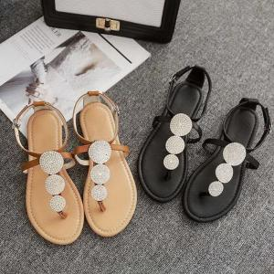Womens Flat Thong Sandals Trendy PU Leather T-Strap Sandals