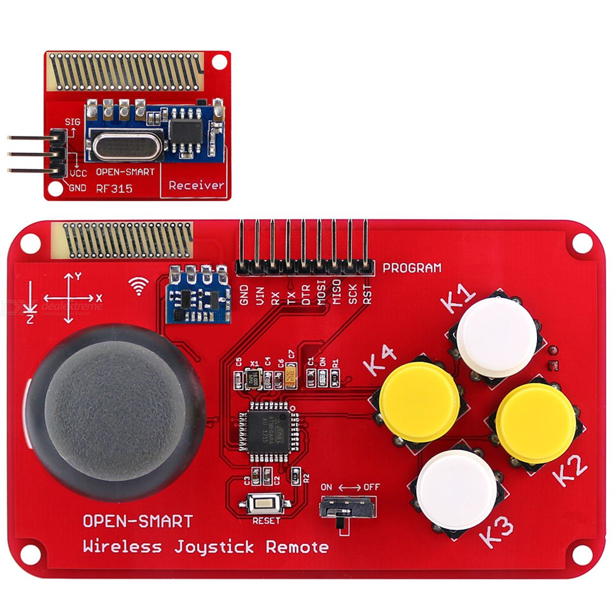 OPEN-SMART PS2 Joystick Keypad RF 315MHz Wireless Joystick Game Controller Module Kit for Smart Car / 4-axis Aircraft