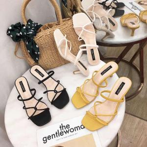 Open Toe Thin Crossing Straps High Heels Summery Rubber Sandals