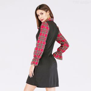 6547 Summer Preppy Style Long Sleeve Fake Two-Piece Womens A Line Mini Dress With Bow Tie Design