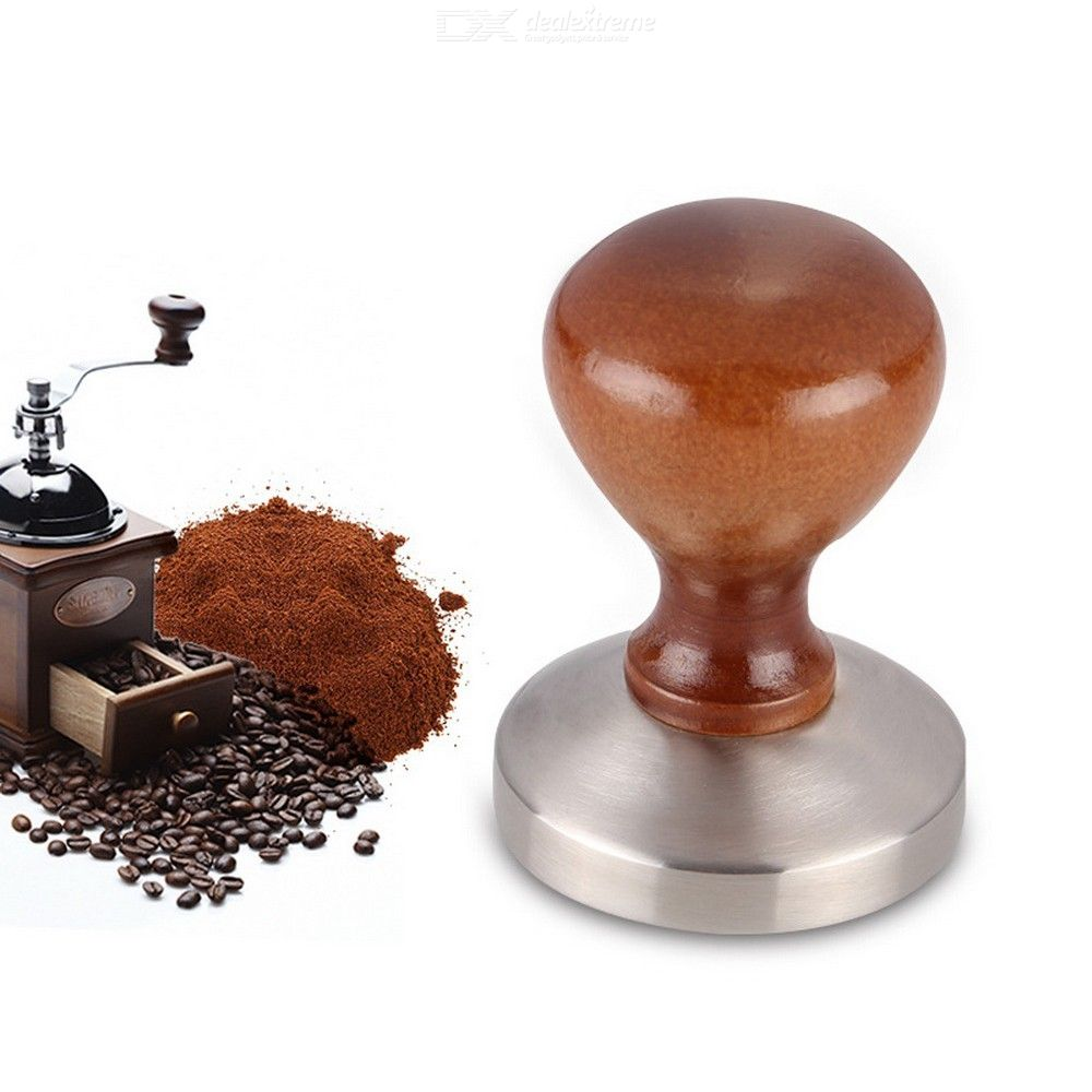 Stainless Steel Main Part Wooden Handle 58 Mm Coffee Tamper Coffee Mail