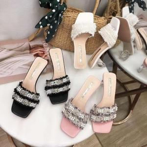 Womens New Summary Style Cute Pearl Lace Sandals  Open-toe Crystal High Thick Sandals
